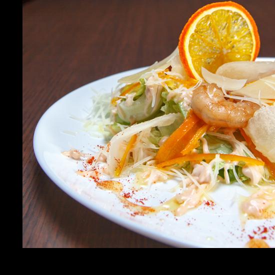 salade gambas mandarine